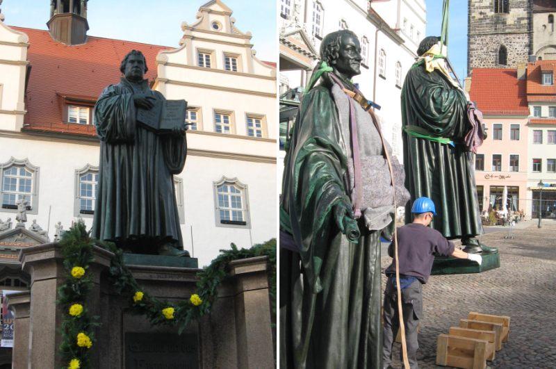 Restaurierung der Bronzedenkmäler von Luther und Melanchthon in Wittenberg