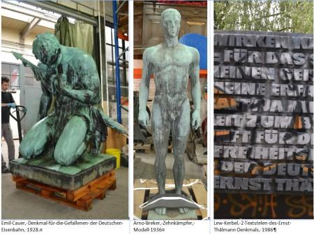 Reinigung und Konservierung der bronzenen Denkmäler für die Ausstellung